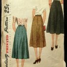 Vintage 40's Simplicity Sewing Pattern 2339 Skirt in 2 Styles Waist Size 28 Hip Size 37 CUT