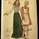 Vintage 1970's Butterick Sewing Pattern 6445 Long or Short Dress and Pinafore Size 12 CUT
