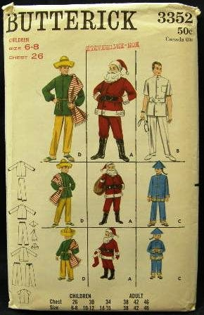 Vintage 60's Butterick Costume Sewing Pattern 3352 Santa Mexican Doctor Chinaman Kids Size 6-8 UNCUT