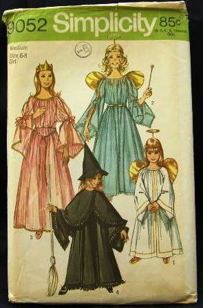 1970's Simplicity Costume Sewing Pattern 9052 Princess Fairy Angel Witch Girls Size Med 6 - 8 CUT