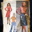 Vintage 1970's Simplicity Sewing Pattern 9163 Hip Hugger Pants Skirt Blouse Size 10 CUT