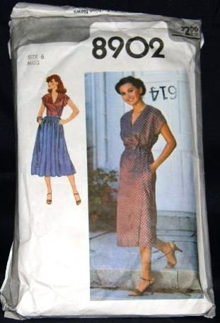 Vintage 1970's Simplicity Sewing Pattern 8902 Front Wrap Dress, Top, Skirt, Tie Belt Size 6 CUT