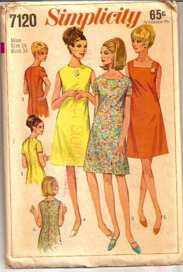 Vintage 1960's Simplicity Sewing Pattern 7120 Short or Sleeveless Dress 3 styles Size 14 UNCUT