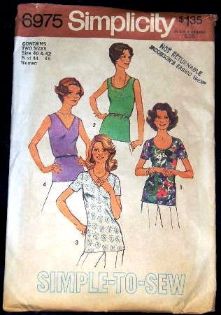 1970's Simplicity Sewing Pattern 6975 Short Sleeve Sleeveless V-Neck Top Plus Size 44 - 46 UNCUT