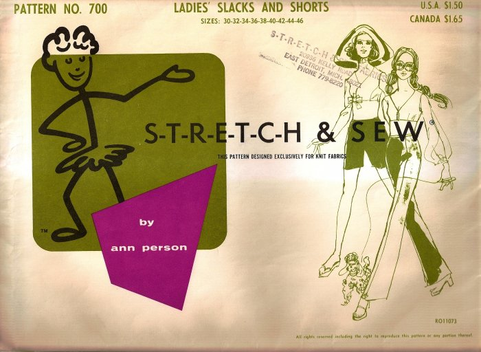 1967 Stretch and Sew Sewing Pattern 700 Ladies Slacks Pants Shorts Size 30 32 34 36 38 40 42 44 46