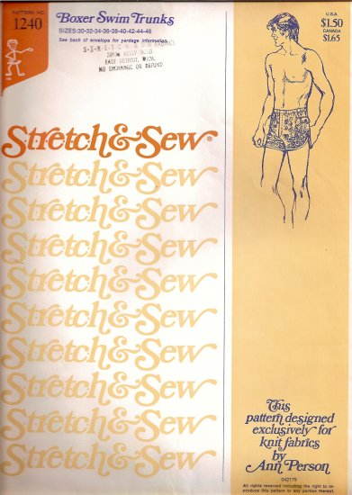 Stretch and Sew Sewing Pattern 1240 Boxer Swim Trunks Bathing Suit Size 30 32 34 36 38 40 42 44 46