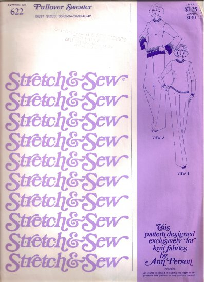 1976 Stretch and Sew Sewing Pattern 622 Pullover Sweater Size 30 32 34 36 38 40 42