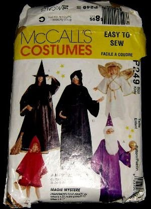 McCalls Costume Sewing Pattern 7838, P249 Wizard Witch Red Riding Hood Reaper Kids Size 2 - 6 CUT
