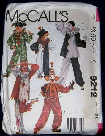80's McCalls Costume Sewing Pattern 9212 Clown in 5 Variations Childrens Size 6 - 8 CUT