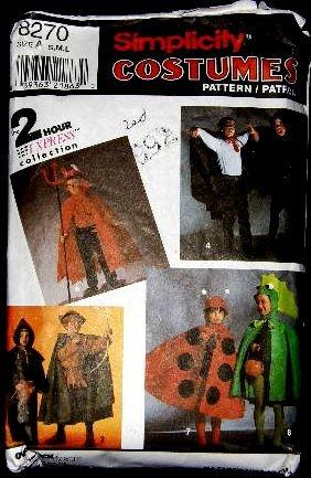 Simplicity Costume Sewing Pattern 8270 Lady Bug Elvira Robin Hood Dracula Childs Small - Large CUT