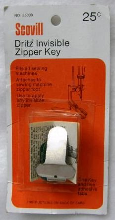 Scovill Dritz Metal Invisible Zipper Key Sewing Machine Attachment Fits any Zipper Foot NIP