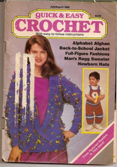 1988 Quick and Easy Crochet Pattern Booklet Afghan Sweater Hat Doily Tablecloth Vest Halter A1000