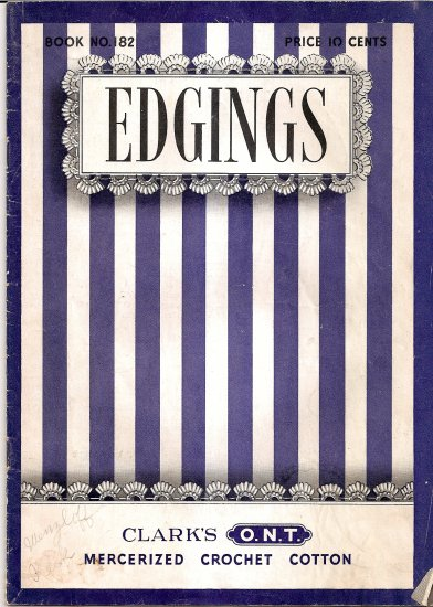 1942 Clarks Crochet Edgings Edging Pattern Booklet #182 for Hankies Towels Linens and more A1002