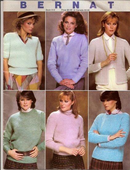 Bernat Knitting Pattern Booklet 512 Modern Classics Knit Sweater in 7 Basic Styles Cardigan A1006
