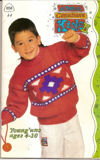 Patons Knitting Pattern Booklet 658 Kids II Girls or Boys Sweater Sweaters Ages 4 - 10 A1009