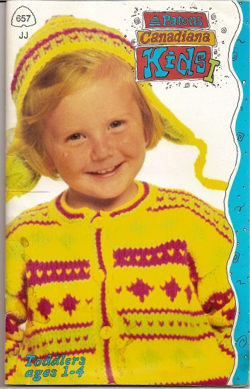 Patons Knitting Pattern Booklet 657 Kids I Girls or Boys Sweater Coat Pants Toddler Ages 1 - 4 A1012