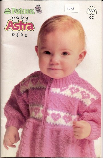 Patons Knitting Pattern Booklet 669 Baby Astra Sweater Booties Sleeper Size 6 - 30 Months A1013