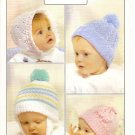 Spectrum Baby Hats Knitting Pattern Leaflet #7141 Infant Baby Hat Hats Birth - 2 years A1032