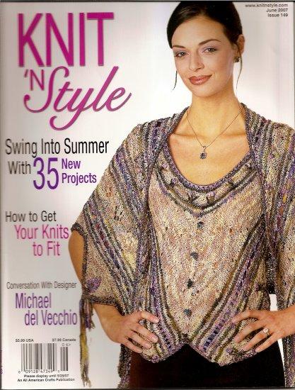 Knit N Style Knitting Crochet Pattern Magazine June 2007 Issue 149 Purse Tank Top Shell Wrap A1026