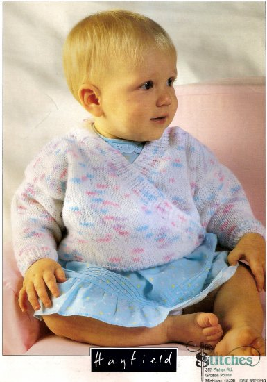 Hayfield Knitting Pattern Leaflet #00523 Baby Cross Over Cardigan with 2 Buttons A1029