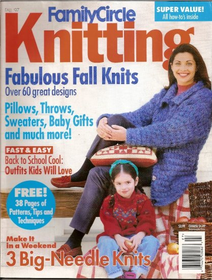 Family Circle Knitting Pattern Magazine Fall 1997 Pillows Throws Sweaters Baby Gifts and more A1034