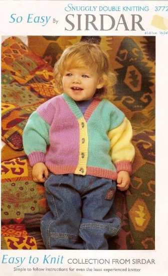 Sirdar Easy to Knit Collection Knitting Pattern Leaflet #3772 Toddler Childs Cardigan Sweater A1035
