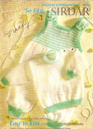 Sirdar Easy to Knit Collection Knitting Pattern Leaflet #3755 Infant Toddler Sweater Jumper A1055