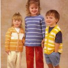 Wendy Knitting Pattern Leaflet 4699 Childrens Pullover Sweater Cardigan Vest Ages 2 - 13  A1044