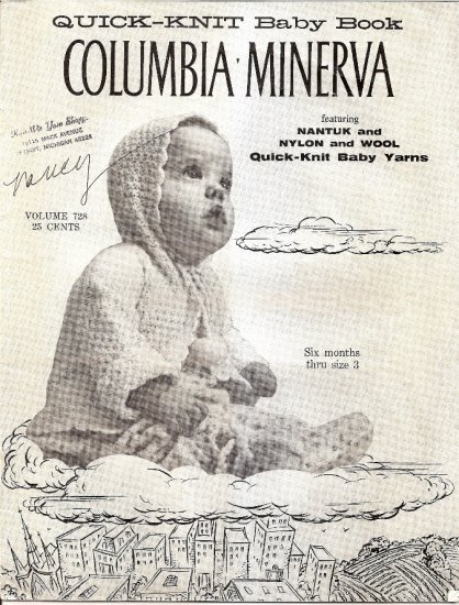 Vintage Columbia Minerva Quick Knit Baby Book Knitting Pattern Booklet 728 Sweater Booties Hat A1048