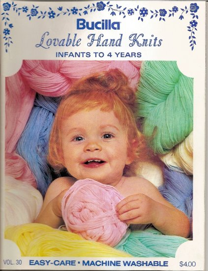 Bucilla Lovable Hand Knits Knitting Pattern Book Vol 30 Sweater Hat Shawl Scarf Blanket  More A1049