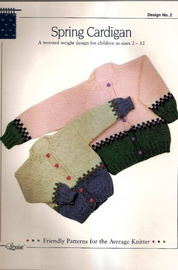 Design by Louise Leaflet #2 Spring Cardigan Childrens Size 2 - 12  A1050