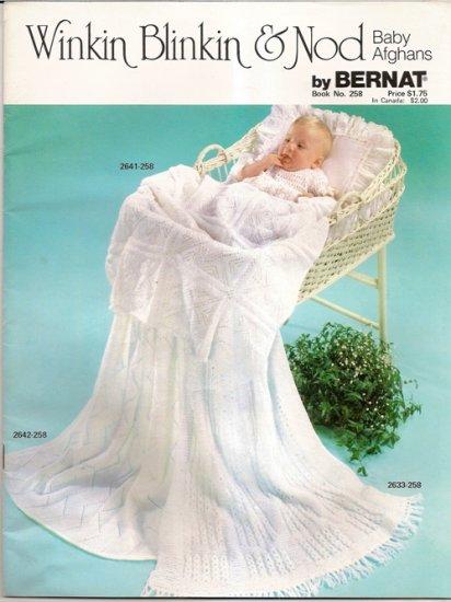 Bernat Knitting and Crochet Pattern Booklet #258 Winkin Blinkin and Nod Baby Blanket Afghan A1007