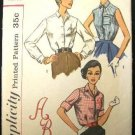 1950's Vintage Simplicity Sewing Pattern 2195 Blouse 3 Styles with Transfer Size 16 CUT