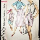 1950's Vintage Simplicity Sewing Pattern 2076 Blouse Skirt Shorts Size 12 Slenderette CUT