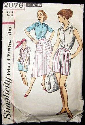 1950's Vintage Simplicity Sewing Pattern 2076 Blouse Skirt Shorts Size 12 Slenderette CUT