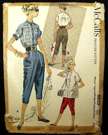 Vintage 1950's McCalls Sewing Pattern 8820 Pedal Pushers and Shirt Size 16 CUT