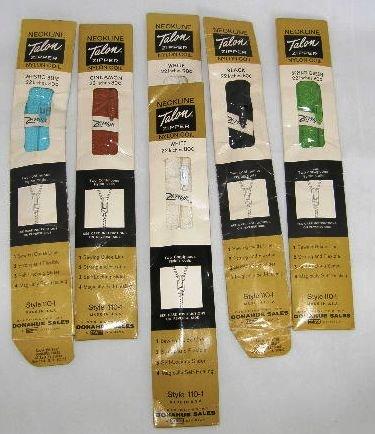 6 Vintage Zippers Zipper Talon Nylon Coil Neckline 22 inch Assorted Colors #118