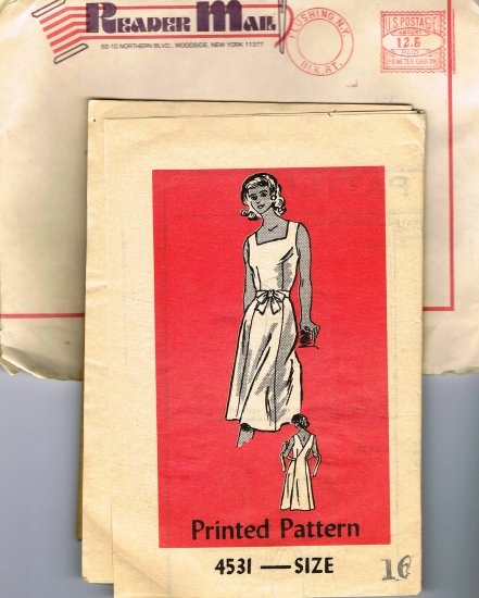 70's Mail Order Reader Sewing Pattern 4531 Sleeveless Tie Front Wrap Dress Size 16 UNCUT MO 109