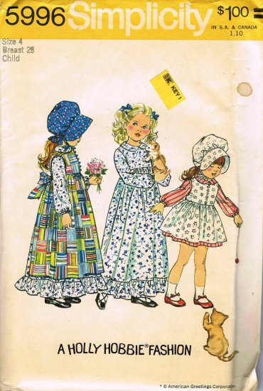 70's Simplicity Sewing Pattern 5996 Holly Hobby Dress Hat Pinafore Little Girls Size 4 UNCUT