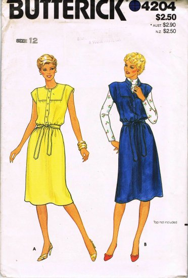 70's Butterick Sewing Pattern 4204 Button Front Cap Sleeve Dress or Jumper with Tie Size 12 UNCUT