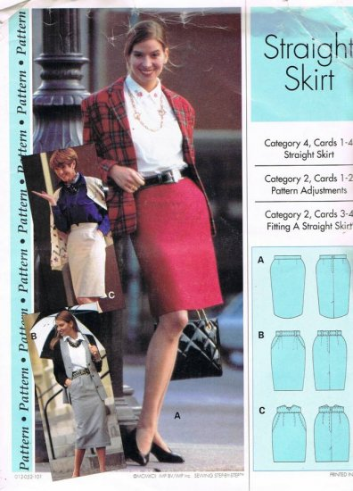 Sewing Step by Step Pattern Straight Skirt 3 Styles Petite Misses Plus All sizes 4 - 22 UNUSED