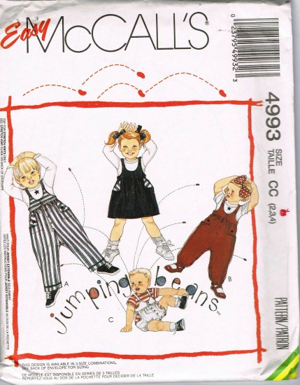 90's McCalls Sewing Pattern 4993 Jumper Overalls Shortall Top Boys Girls Size 2 3 4 Toddler UNCUT