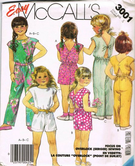 80's Easy McCalls Sewing Pattern 3001 Long or Short Jumpsuit Girls Child Size 4 UNCUT