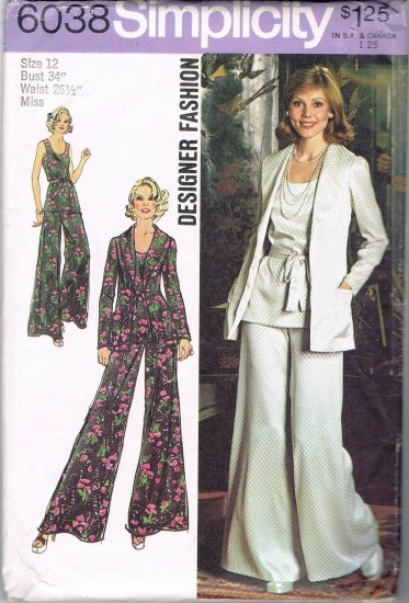 70's Simplicity Designer Sewing Pattern 6038 Sleeveless Top Wide Leg Pants Jacket Size 12 UNCUT