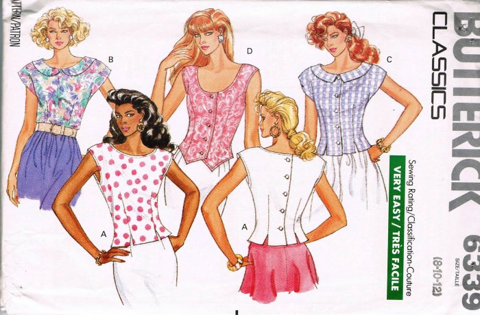 80's Butterick Classics Sewing Pattern 6339 Cap or Sleeveless Fitted Blouse Size 8 10 12 UNCUT