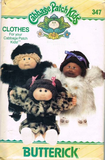80's Butterick Sewing Pattern 347 Cabbage Patch Kids Doll Clothes Coat Hat UNCUT