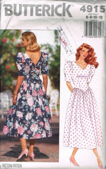 80's Butterick Sewing Pattern 4915 Fitted Bodice Flared Dress Size 6 8 10 12 UNCUT