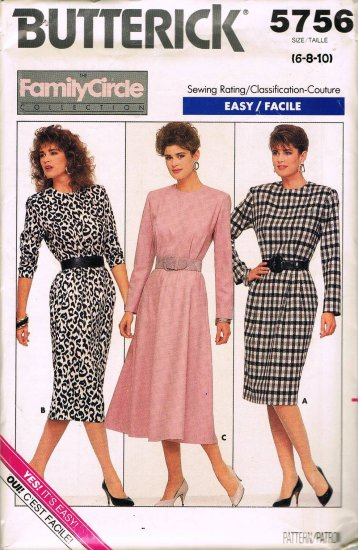 80's Butterick Fast and Easy Sewing Pattern 5756 Career Dress 3 Styles Size 6 8 10 UNCUT