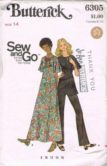 Vintage 1960's Butterick Easy Sewing Pattern 6305 Short Sleeve Long Dress Tunic Pants Size 14 UNCUT