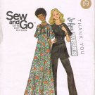 Vintage 1960's Butterick Easy Sewing Pattern 6305 Short Sleeve Long Dress Tunic Pants Size 14 UNCUT